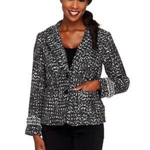 Joan Rivers Chic Boucle Jacket Blazer Black 18W